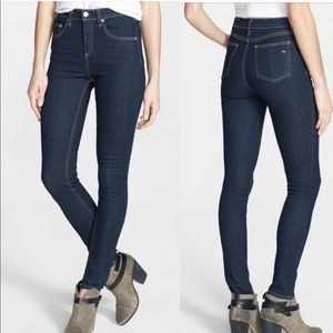 Rag & Bone high rise skinny dark wash jeans